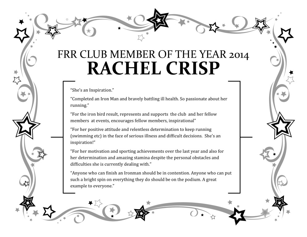 Rachel Crisp - Club Member of the Year 2014
