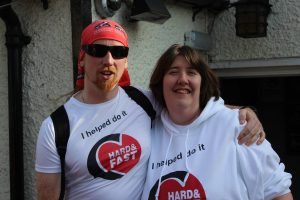JJ and Adele waiting in Claydon for the Hard and Fast Relay